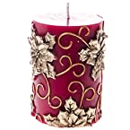3x4 Leaf & Flower Patterned Pillar Candle
