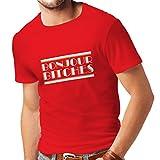 N4315 Männer T-Shirt Bonjour Bitches! (Small Rot Mehrfarben)