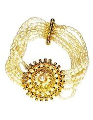 Surat Diamonds 5 Line Freshwater Pearl & Gold Plated Pendant Bracelet For Women (SB2)