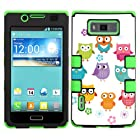 One Tough Shield ® 3-LAYER Hybrid Phone Case (Black/Green) for LG Optimus Showtime L86C / L86G and Straight Talk LG Optimus Ultimate L96G - (Happy Owl)