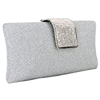 MG Collection Glitter White Rhinestone Closure Hard Case Evening Baguette