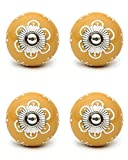 Knobs & Hooks Ceramic Cabinet Knob; Yellow+White; Set of four pieces