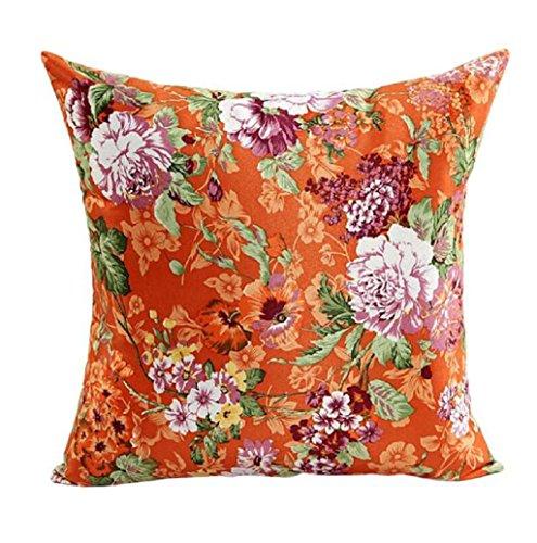 Rosennie Blumen Muster Kissen Fall Sofa Zuhause Dekor 45cm*45cm (Orange)