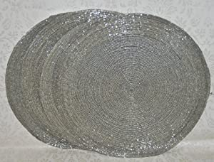 set of 4 handcrafted silver beaded placemats charger mats