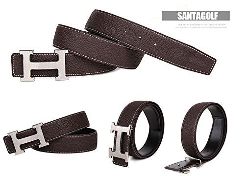 H Stile unisex cintura in pelle (3,8cm larghezza) - silver buckle/coffee 100 cm