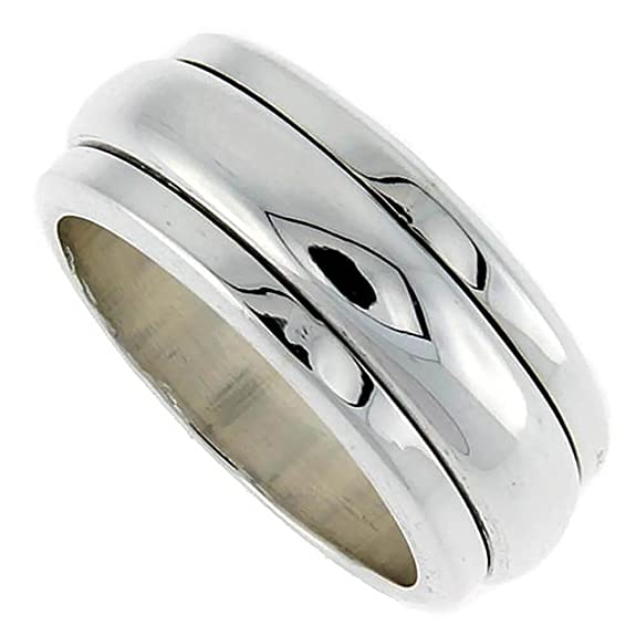 Sterling Silver Men's Spinner Ring Narrow Domed Center Handmade,