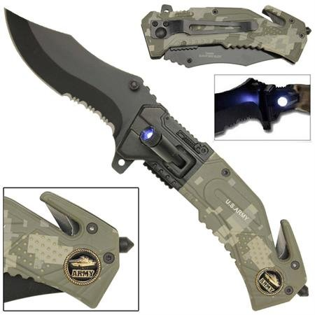 Spring Assist Led Tactical Rescue Knife Armor Recon