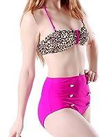 HDE Women Vintage 50s Pinup Girl Rockabilly High Waist Retro Bikini Swimsuit Set