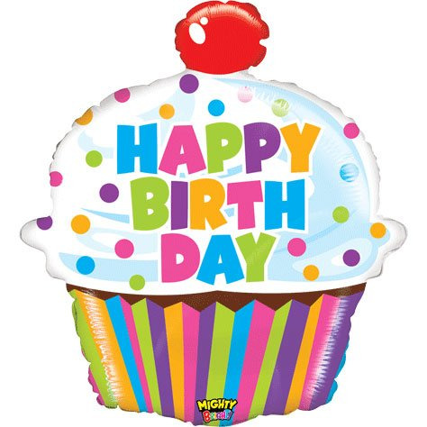 "Happy Birthday Mighty Bright Big Cupcake Shaped 31"" Mylar Foil Balloon"