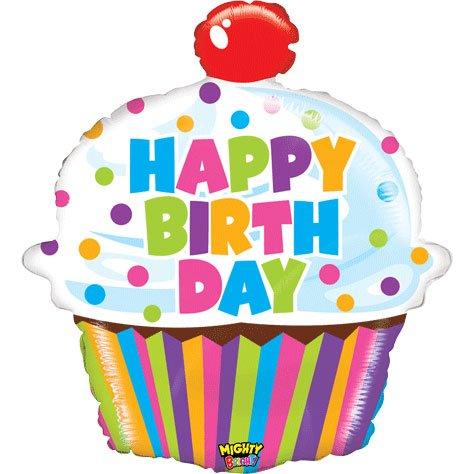 "Happy Birthday Mighty Bright Big Cupcake Shaped 31"" Mylar Foil Balloon"