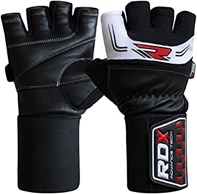 Authentic RDX Pro Gel Weight Lifting Body Building Gloves Gym Straps Bar Cow Hide Leather Training Workout yellow White Black by RDX