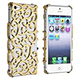 Electroplating Hollow Chrome Pattern Design Back Cover PC Case for Apple iPhone 5 - Gold