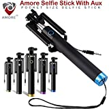 #1: Amore Pocket Size Selfie Stick Aux Cable (No Bluetooth or Battery) for taking Photos & Videos on all Smart Mobile Phones,Premium & Best Quality, Light Weight, Best Price Gift, Long Length Extendable & Foldable Selfie Stick, Selfie Stick Compatible for iPhones (iOS 5.0+) 4s, 5s, 6s, 6s Plus, Android Phones, Samsung Galaxy, Note, Edge, Gionee, Intex, Karbonn, Lenovo, Nokia, Nexus, Oppo, Vivo, Coolpad, One Plus, Moto, Sony. (Colours May Vary)
