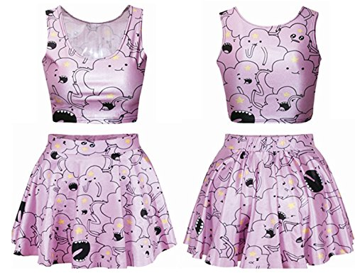 Shmily_B Galaxy Digital Print Reversible Crop Tank Top+Pleated Skater Skirts Set ( Lumpy space princess) (Lumpy Space Princess Dress compare prices)