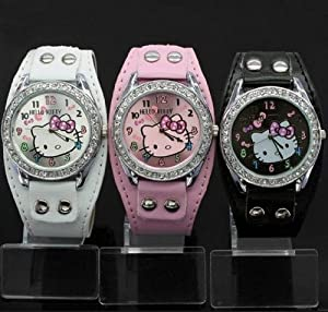 New Lovely Hello Kitty Girls Ladies Wrist Watch Quartz Fashion Best Gift 3pcs