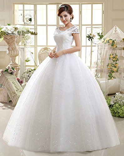 Eyekepper Double Shoulder Floor Length Bridal Gown Wedding Dress Custom Size (14, White)