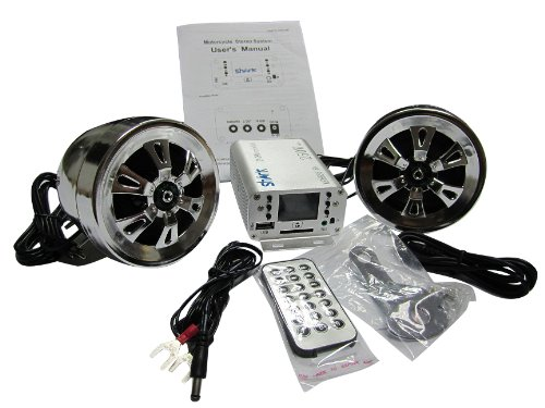 Sharkmotorcycleaudio Shkmsdhrs6160 250W Motorcycle Snowmobile 2 Speakers + Fm Splash Proof Remote Sd Aux Huge Lcd Display. Great For All Harley Davidson And Other Motorcycles
