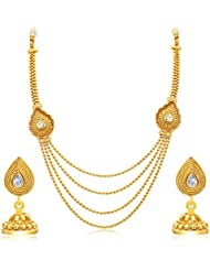 Sukkhi Splendid Four String Jalebi Gold Plated AD Necklace Set For Women