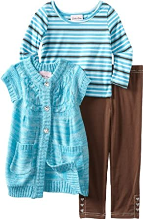 Little Lass Little Girls' 3 Piece Sweater Set With Button Detail Legging, Turquoise, 4