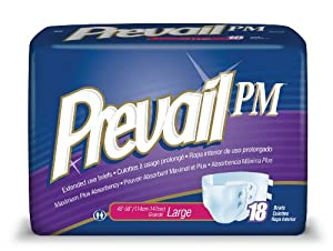 Prevail PM Extended Use Adult Briefs, Large, 18 Count