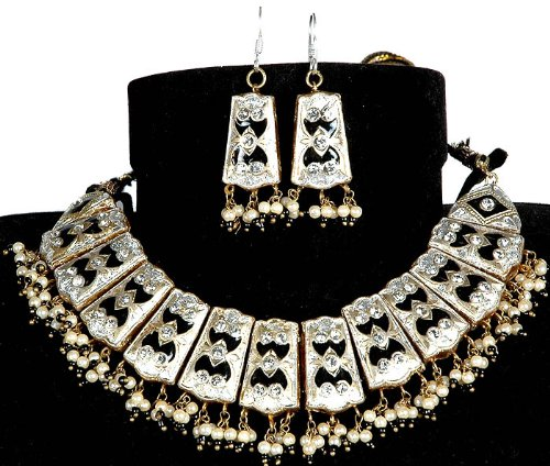 Silver and Black Beaded Necklace with Golden Accents and Earrings - Lacquer with Cut Glass
