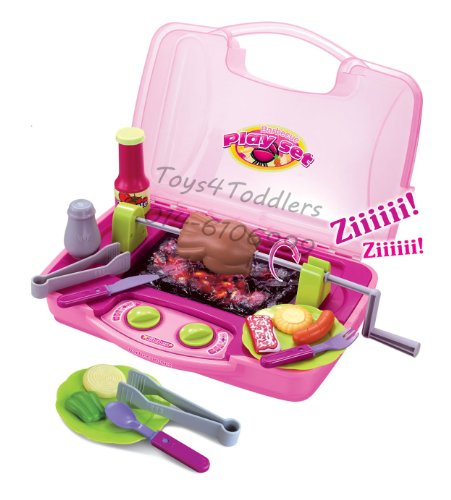 Kitchen Barbeque Play Food Set For Kids With BBQ Grill Plate, Rotating Rotisserie & Light-Up Coals (Pink Color)