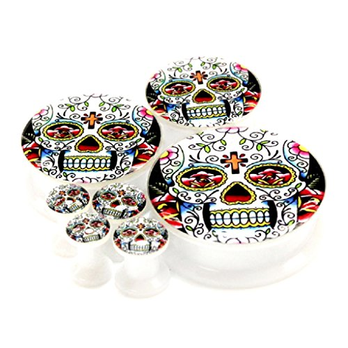 Pair 6Mm 2G (More Size Available) Classic Mexican Sugar Skull Logo Acrylic Internal Thread Screw Fit Flesh Tunnels White Ear Plugs