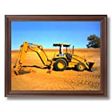 Caterpillar 416C Backhoe Wall Picture Cherry Framed Art Print