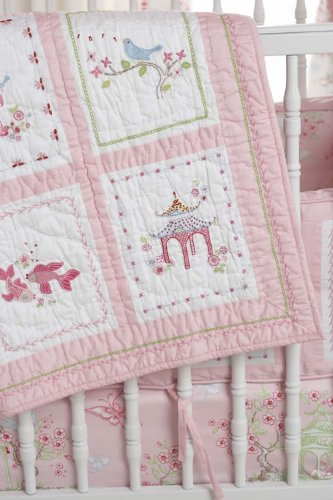 Whistle & Wink - Pink Pagoda Crib Quilt front-78823
