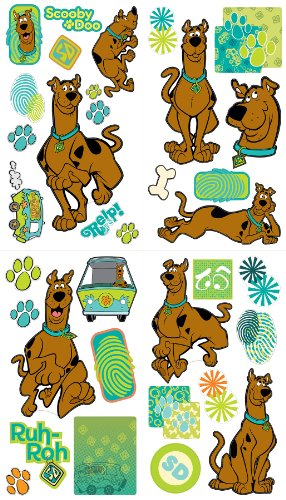 Brewster ST93993 Scooby Doo Peel & Stick Sticker Set by Warner Bros, 4 Sheets - 1