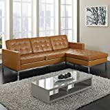 LexMod Florence Style Left-Arm Corner Sectional Sofa, Tan