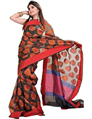 Exotic India Double-Colored Banarasi Saree With Woven Flowers And Plain - Orange
