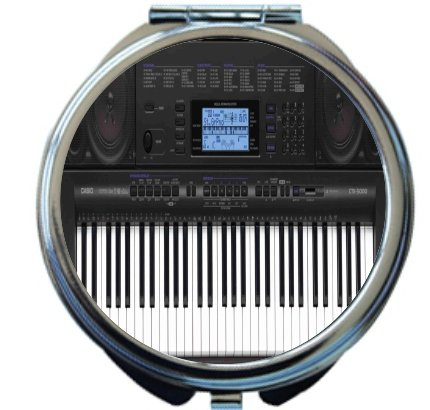 Rikki Knighttm Electric Keyboard Design Round Compact Mirror