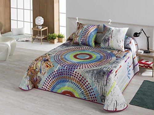 Textilhome - Colcha Bouti estampada COLORS 105 cm. Color Fucsia