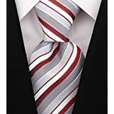 Scott Allan Mens Striped Tie - Burgundy & Gray