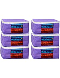 Kuber Industries Non Woven Saree Cover Bag Set Of 6 Pcs /Wardrobe Organiser/Regular Clothes Bag PU-19158