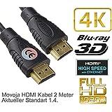 HDMI Kabel 2M Meter 4K 1.4 Highspeed mit Ethernet - LAN Vergoldet 1080p 2160p 8K