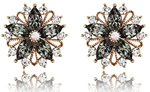 Marvelous Flower Black Diamond Color Crystal Bronze Plated Post Earrings [Swarovski Element Crystals]