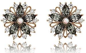 Marvelous Flower Black Diamond Color Crystal Bronze Plated Post Earrings [Swarovski Element Crystals]