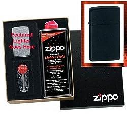 """""""Slim Black Matte"""" Zippo Lighter Gift Set"""