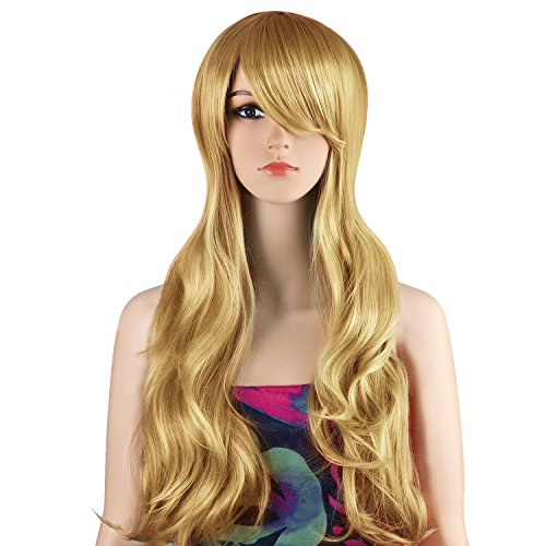 "Ecvtop 28"" 70cm Long Wavy Heat Resistant Curly Human Hair Cosplay Costume Wig Anime (Blonde)"
