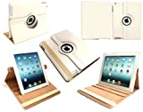 Flash Superstore New Ipad 3 & Apple Ipad 2 PU Leather Multifunctional / Multi Angle Rotating Folio / Cover / Stand / Typing Case White (All versions Wi-Fi and Wi-Fi + 3G/4G - 16GB 32GB 64GB)
