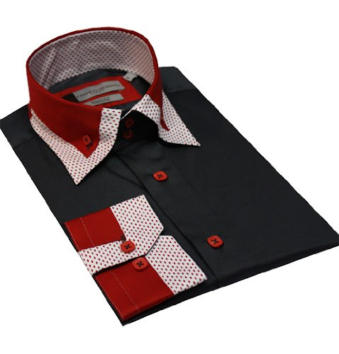 Italian Design Men Formal Casual Shirts Designed High Collar Gray Colour