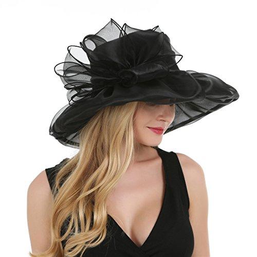 Saferin® Women's Kentucky Derby Party Church Wedding Floral Organza Hat Black1