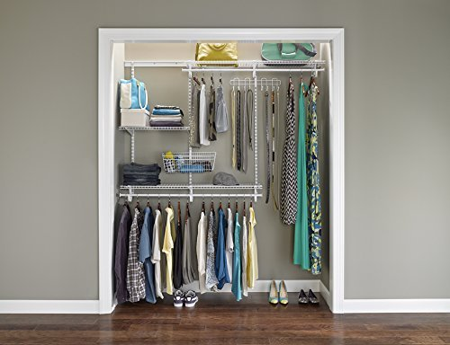 ClosetMaid 22873 ShelfTrack 4ft. to 6ft. Adjustable Closet Organizer Kit, White