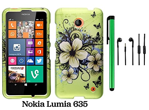 Nokia Lumia 635 (Us Carrier: T-Mobile, Metropcs, And At&T) Premium Pretty Design Protector Cover Case + 3.5Mm Stereo Earphones + 1 Of New Assorted Color Metal Stylus Touch Screen Pen (Apple Green Butterfly Flower)