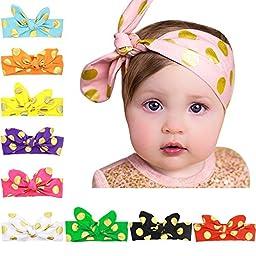 TS® Cute Baby Girl 10PCS Newest Turban Rabbit Headband Wrap Knotted HairBand