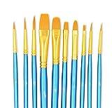 LANIAKEA ペイントブラシ 各サイズ 平筆 丸筆 10本セット(ナイロン) 水彩画/ 油絵/アクリル/工芸/フェイス(ブルー)