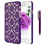 iPhone 6 Plus Case, Style4U iPhone 6 Plus [Purple] Flower Damask Design Slim Fit Case Cover for Apple iPhone 6 Plus 5.5 Inch with 1 Stylus and 1 HD Clear Screen Protector [Purple]