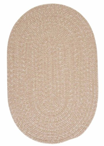 American Made Textured Rug 10-Feet by 10-Feet Round Oatmeal Wool Carpet